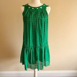 Max Studio Green Sleeveless Drop Waist Dress